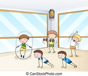 gente, ejercitar, en el gimnasio
