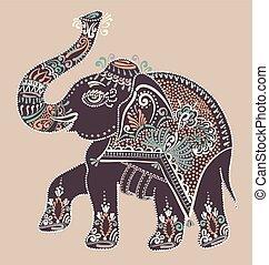 gente, elefante, indio, punto, arte, pintura, ilustración