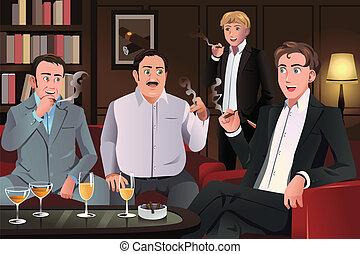gente en a, cigarro, salón