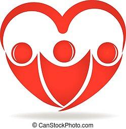gente en a, forma corazón, logotipo