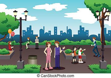 gente en a, parque de la ciudad, hacer, materia diaria