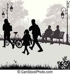 gente en a, parque de la ciudad, siluetas
