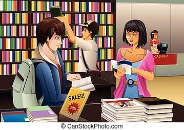 gente en a, tienda libro