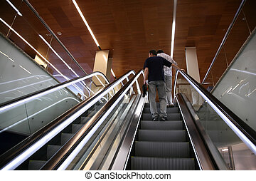 gente, en, el, escalera mecánica