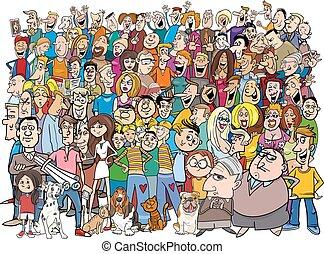 gente en, multitud, caricatura