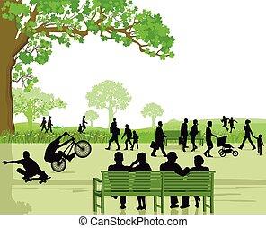 gente en, parque, área