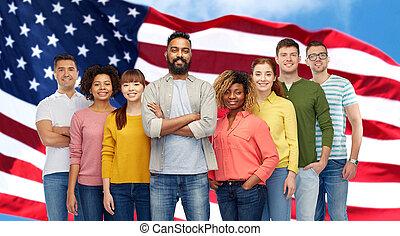 gente, encima, norteamericano, grupo, bandera internacional