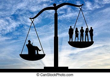 gente, entre, desigualdad, rico, social, ordinario