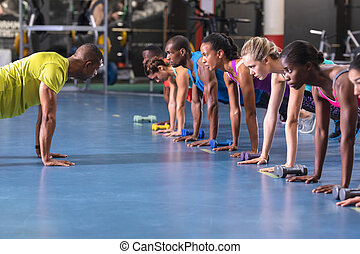 gente, entrenador, centro, ejercicio, actuar, entrenamiento...