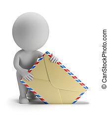 gente, -, enviar, pequeño, correo, 3d