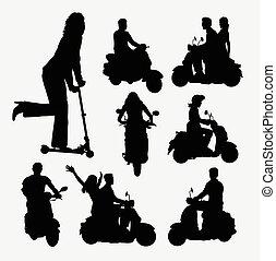 gente, equitación, patineta, siluetas