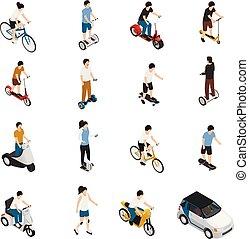 gente, equitación, personal, eco, vehículos