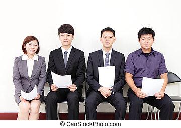 gente, esperar, para, entrevista de trabajo