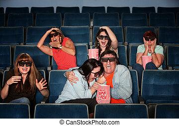 gente, estridente, en, teatro