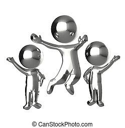 gente, feliz, 3, logotipo, metálico, d