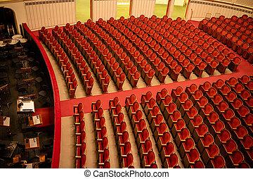 gente, filas, ópera, viena, asientos, estado, rojo, sin, ...