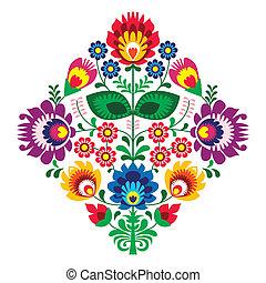 gente, flores, bordado, patern