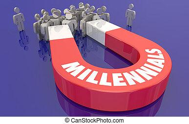 gente, generación, ilustración, imán, millennials, y, 3d