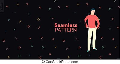 gente, geometría, retratos, -, seamless, brillante, patrón