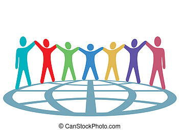 gente, globo, arriba, brazos, colores, manos, asimiento