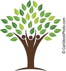 gente, grupo, árbol, logotipo