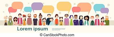gente, grupo, charla, burbuja, comunicación, mezcla, carrera, multitud, social, red