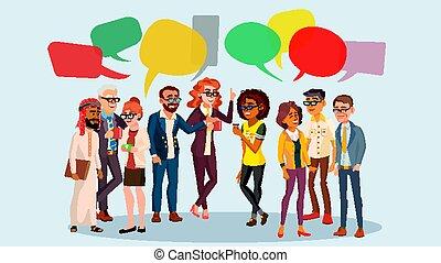 gente, grupo, charla, vector., empresa / negocio, personas., comunicación, social, network., social, group.speech, bubbles., ilustración