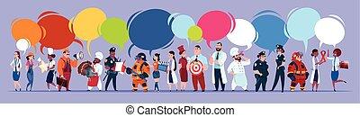 gente, grupo, con, charla, burbujas, diferente, ocupación, conjunto, empleados, mezcla, carrera, trabajadores, bandera