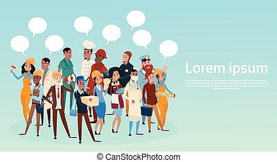 gente, grupo, diferente, ocupación, empleados, mezcla, carrera, trabajadores, con, charla, burbuja, red, comunicación, bandera