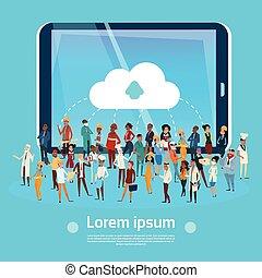 gente, grupo, diferente, ocupación, empleados, mezcla, carrera, trabajadores, red, social, comunicación