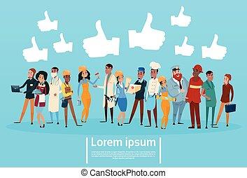 gente, grupo, diferente, ocupación, empleados, mezcla, carrera, trabajadores, social, red, comunicación, como, bandera