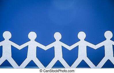 gente, grupo, manos de valor en cartera