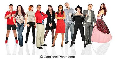 gente, grupo, posición, collage
