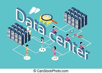 gente, grupo, utilizar, adminículos, base de datos, servidor, búsqueda, centro de datos, 3d, isométrico, diseño
