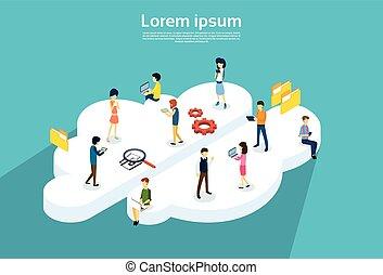 gente, grupo, utilizar, internet, adminículos, en línea, nube, servicio, sincronización