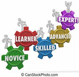 gente, hábil, principiante, niveles, pericia, engranajes, aprendizaje, montañismo, avanzado
