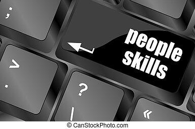 gente, habilidades, teclado, palabras, llave, entrar, mensaje