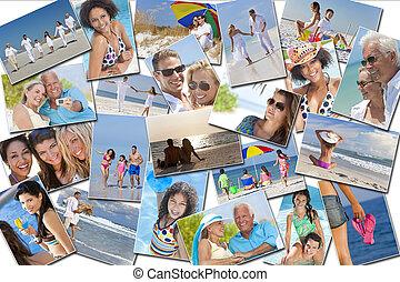 gente, hombres, mujeres, niños, vacaciones de familia, feriado