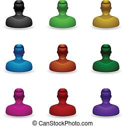 gente, iconos, -, desconocido, usuario