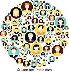 gente, iconos, en, círculo