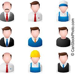 gente, iconos, -, oficina