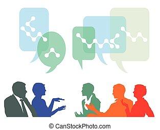 gente, ideas, discutir, intercambio
