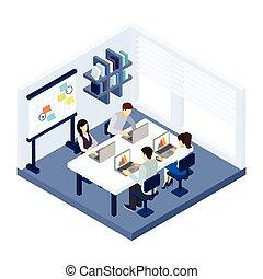 gente, ilustración, coworking