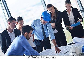 gente, ingenieros, reunión, empresa / negocio