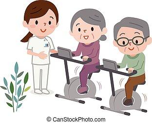 gente, inmóvil, clase, bicicleta, condición física, anciano, ejercitar