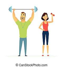 gente, instructores, -, ilustración, caracteres, condición ...