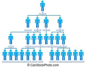 gente, jerarquía, compañía, gráfico, organización, ...