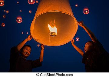 gente, lámpara, flotar, tailandés, año, nuevo