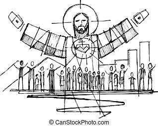 gente, las armas se abren, cristo, ilustración, jesús