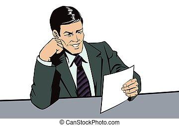 gente, lee, retro, documents., hombre, style., noticias, facts.
